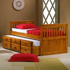 Gershwin Twin Mission Trundle Bed - Round Knobs, Honey