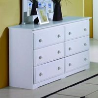 Isobel Wooden Dresser - 6 Drawers, White Finish