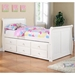 Hattie Twin Size Sleigh Bed - Trundle, Drawers, White Finish - DONC-125TW