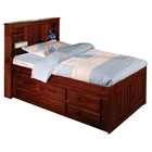 Hubert Twin Bookcase Bed - Bead Board Panels, Merlot Finish