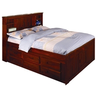 Hubert Full Bookcase Bed - Bead Board Panels, Merlot Finish