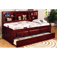 Houghton Twin Size Daybed - Side Bookcase, Merlot Finish