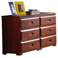 Joplin 6-Drawer Dresser - Bead Board Sides, Merlot Finish
