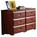 Joplin 6-Drawer Dresser - Bead Board Sides, Merlot Finish - DONC-2850
