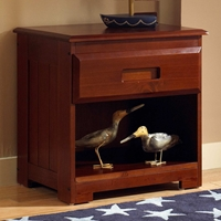 Joplin Wooden Nightstand - Drawer, Shelf, Merlot Finish