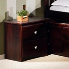 Irving 2-Drawer Night Table - Silver Tone Handles, Dark Cappuccino