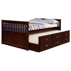 Gable Full Mission Trundle Bed - Square Handles, Dark Cappuccino