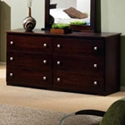 Irving 6-Drawer Dresser - Silver Tone Handles, Dark Cappuccino