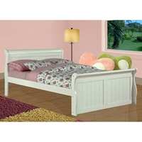 Faustine Full Sleigh Bed - Bead Board Panels, White Finish