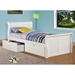 Faustine Twin Sleigh Bed - Bead Board Panels, White Finish - DONC-325TW
