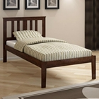 Venice Twin Size Bed - Slatted Headboard, Dark Cappuccino