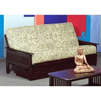 Denver Wood Futon Frame - Slatted Arms, Java