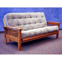 Florence Wood Futon Frame - Curved Slatted Arms, Dark Cherry