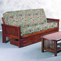 Juliana Wood Futon Frame - Slatted Arms, Dark Cherry