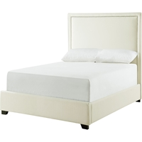 Destiny Upholstered Platform Bed - Destin Sand, Chrome Nailhead Detailing