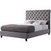 Serina Button Tufted Platform Bed - Charcoal, Antique Brass Nailhead - EGL-EAG8050CCL-BED