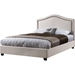 Oriana Platform Bed - Ivory, Antique Brass Nailhead Detailing - EGL-EAG9150MIY-BED