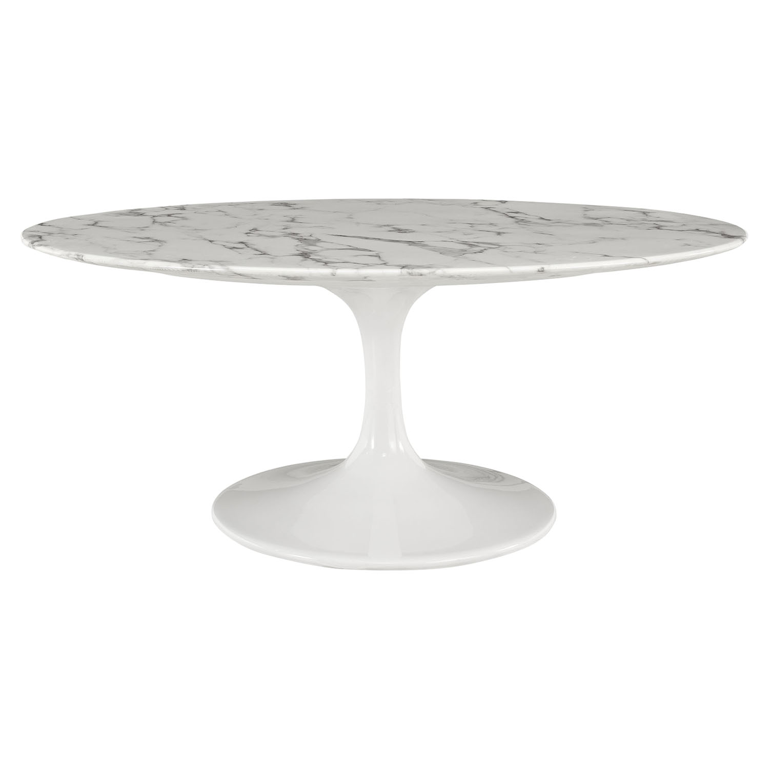 "Lippa 42"" Oval Shaped Coffee Table - Artificial Marble Top"