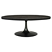 Drive Wood Top Coffee Table - Oval, Pedestal, Black - EEI-1204-BLK-SET