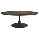 Drive Wood Top Coffee Table - Oval, Pedestal, Brown