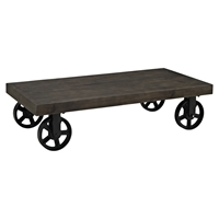 Garrison Wood Top Coffee Table - Rectangle, Casters, Black