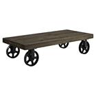 Garrison Wood Top Coffee Table - Rectangle, Casters, Brown