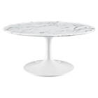 "Lippa 36"" Artificial Marble Coffee Table - White"