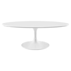 "Lippa 48"" Oval Coffee Table - Wood Top, White"