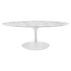 "Lippa 48"" Oval Artificial Marble Coffee Table - White"