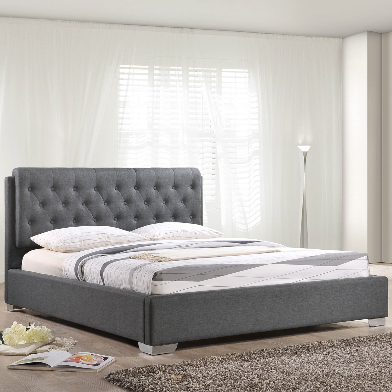 Amelia Fabric Bed - Button Tufted, Gray - EEI-MOD-5-GRY-SET-CAITLIN
