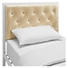 Mia Twin Tufted Faux Leather Bed - White, Champagne - EEI-5179-WHI-CHA-SET