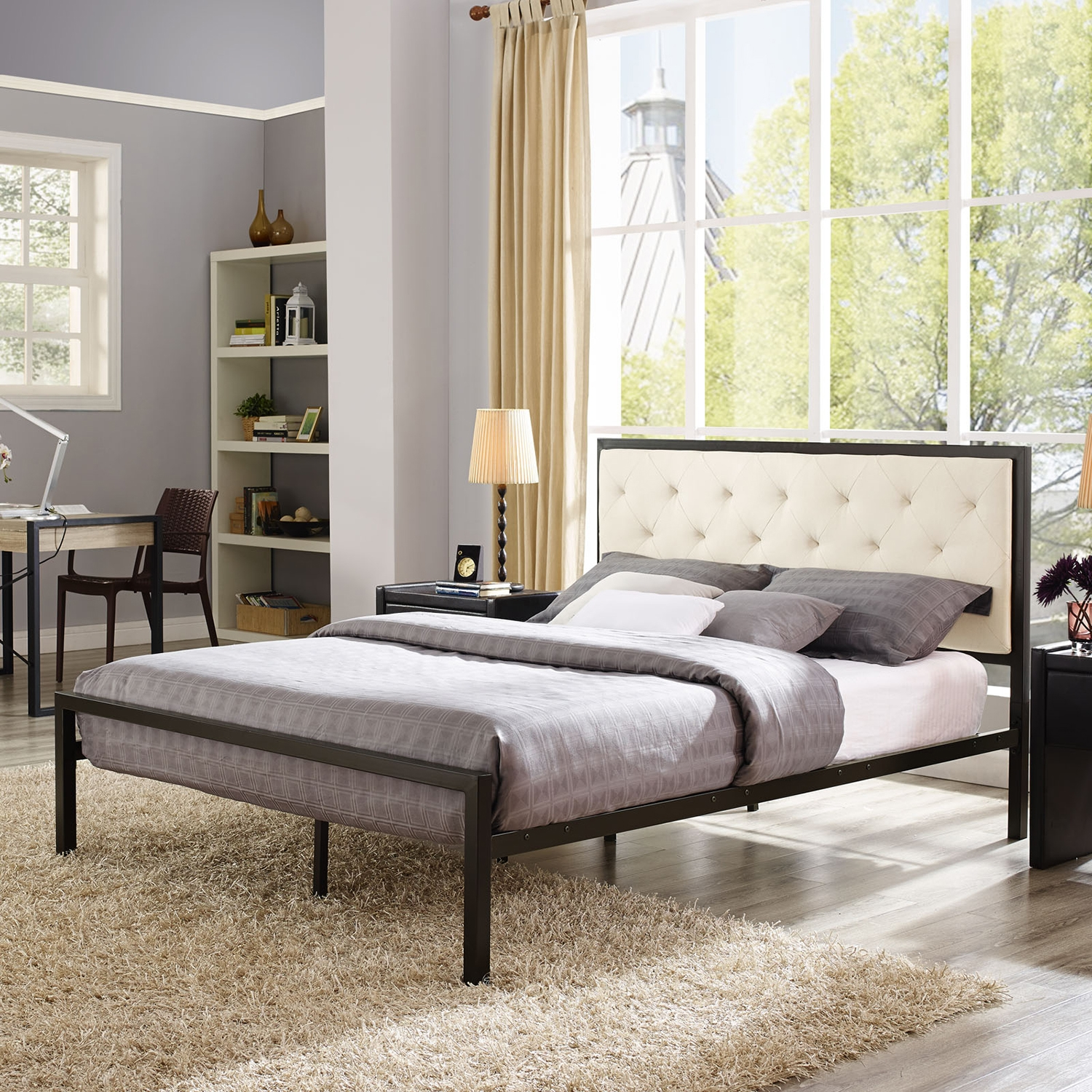 Mia Tufted Fabric Bed - Brown Beige - EEI-MOD-518-BRN-BEI-SET