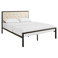 Mia Tufted Fabric Bed - Brown Beige