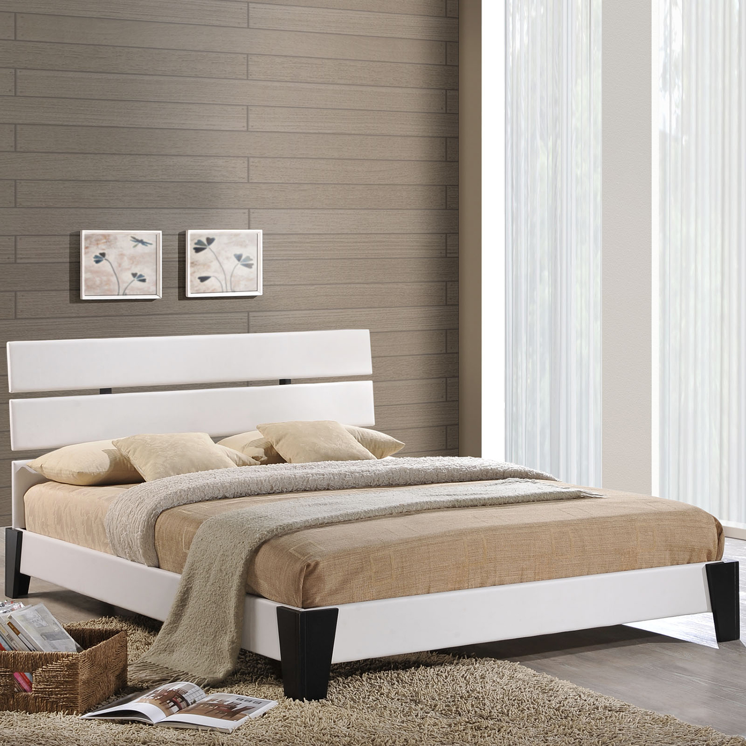 Zoe Full Faux Leather Bed - Platform, White - EEI-MOD-5185-WHI
