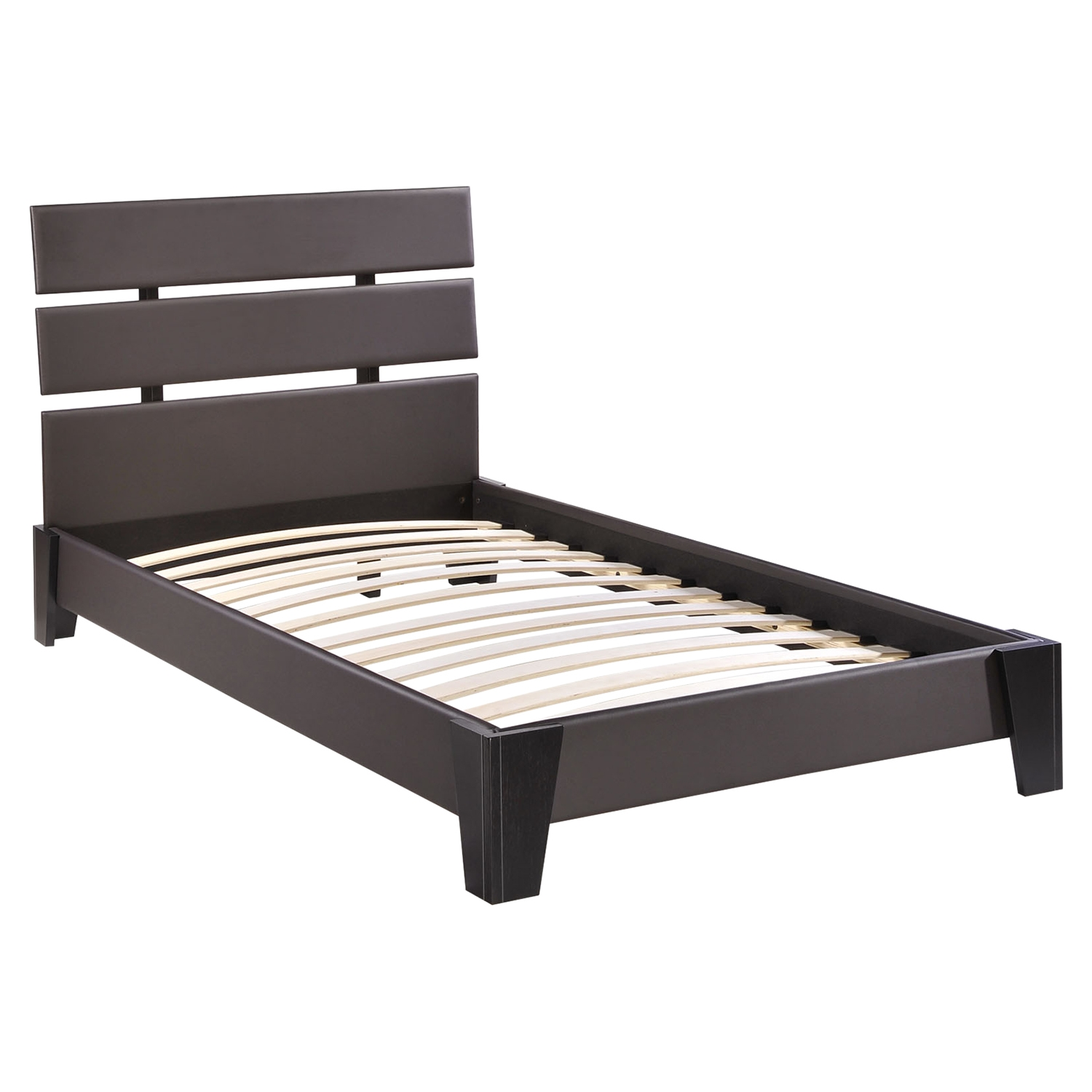 Zoe Twin Leatherette Bed - Platform, Brown - EEI-MOD-5186-BRN
