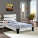 Zoe Twin Leatherette Bed - Platform, White - EEI-5186-WHI