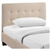 Caitlin Twin Fabric Bed - Button Tufted, Beige - EEI-MOD-5191-BEI-SET