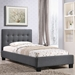 Caitlin Twin Fabric Bed - Button Tufted, Gray - EEI-5191-GRY-SET