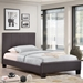 Alex Twin Faux Leather Bed - Platform, Brown - EEI-5198-BRN-SET