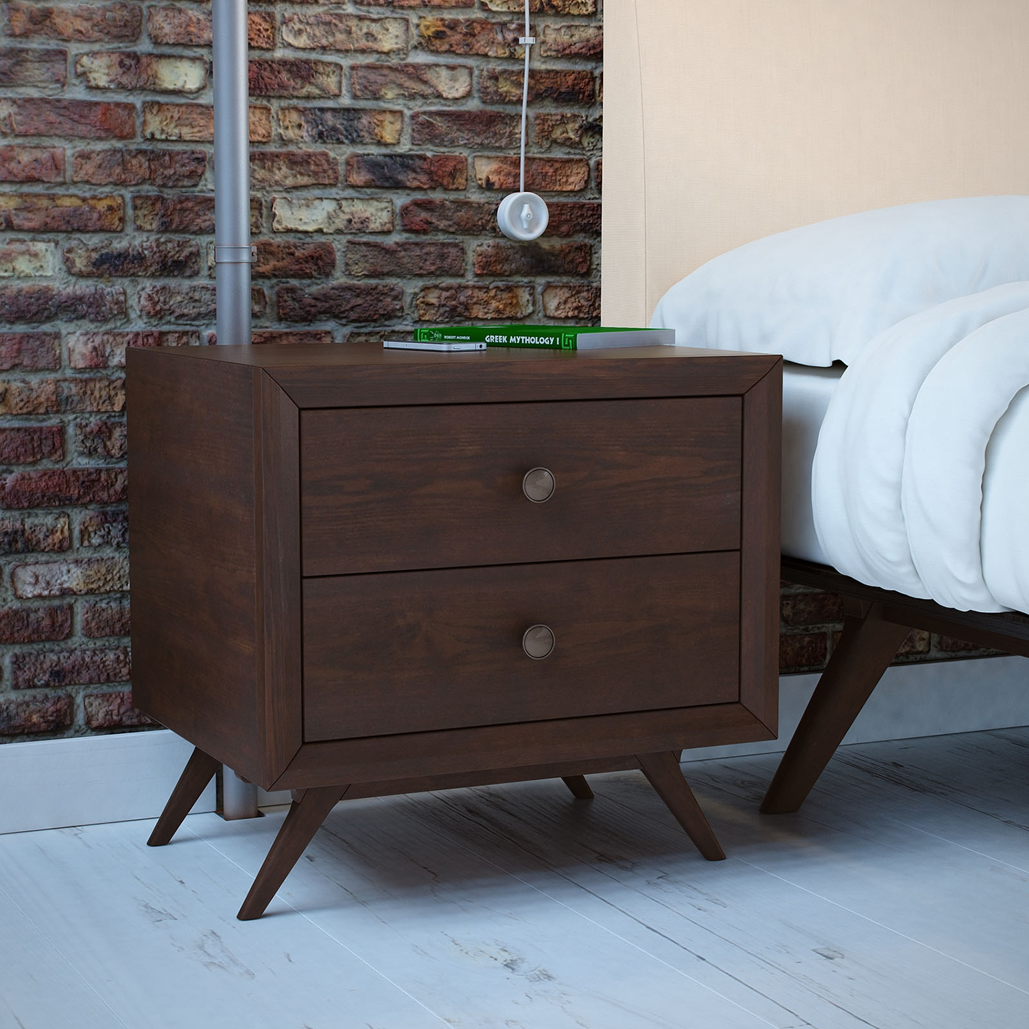 Tracy 2-Drawer Nightstand - Cappuccino - EEI-MOD-5240-CAP
