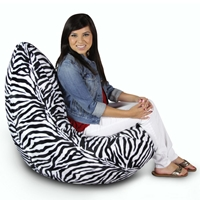 Zebra Print Plush Bean Bag Chair