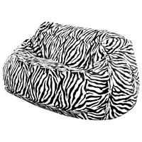 Zebra Print 2-Seater Plush Bean Bag - Velvet