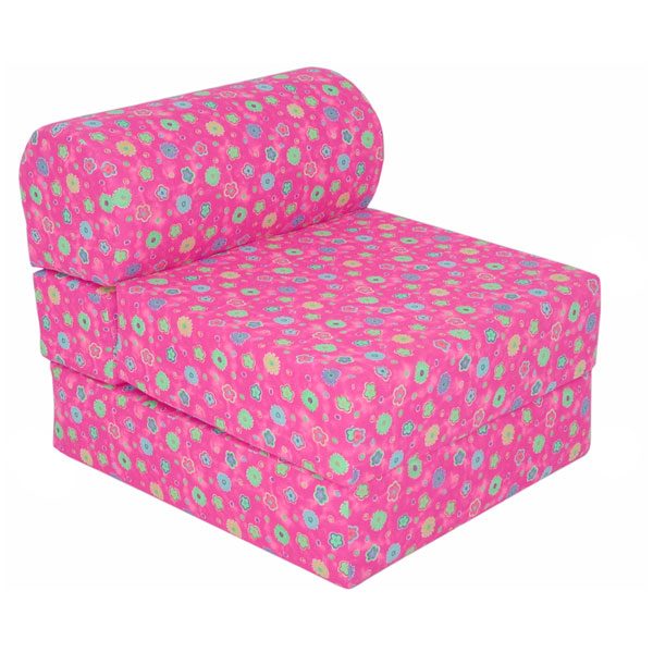 Children's Foam Chair Sleeper - Pink Flowers