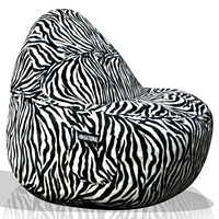 Sitsational Extra Large Bean Bag Chair - Zebra Print, Velvet