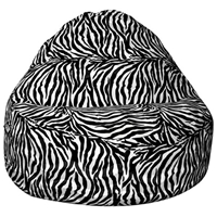 Sitsational 2-Seater Bean Bag Chair - Zebra Print, Velvet