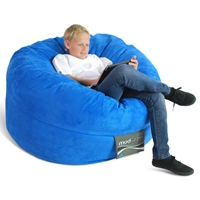 Mod Pod 40 Inch Suede Bean Bag - Blue