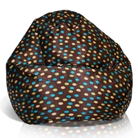 Classic Medium Bean Bag in Brown with Turquoise and Yellow Dots
