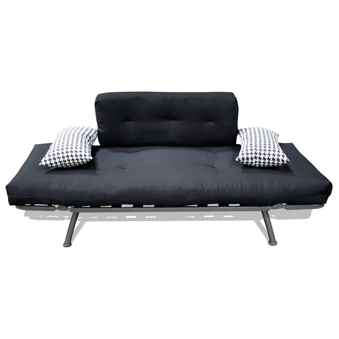 Mali Flex Futon Combo - Solid Black, Houndstooth Print Side Pillows