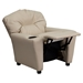 Upholstered Kids Recliner Chair - Cup Holder, Beige - FLSH-BT-7950-KID-BGE-GG