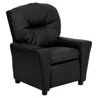Leather Kids Recliner Chair - Cup Holder, Black